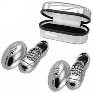 Rugby Ball & Boot Sterling Silver Cufflinks (can be personalised)