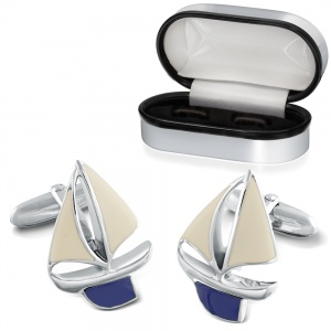 Sailing Boat Sterling Silver Cufflinks (can be personalised)