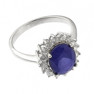 Sapphire/White Cubic Zirconia Oval Cluster Ring Sterling Silver