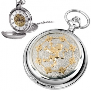 Scottish Flag Pewter Mechanical Skeleton Pocket Watch (can be personalised)