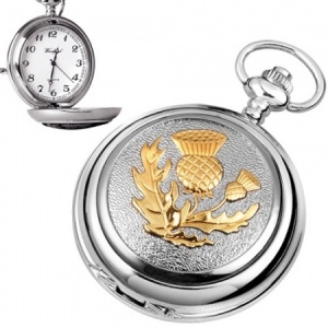 Scottish Thistle Pewter & Gold Plated Quartz Pocket Watch (can be personalised)