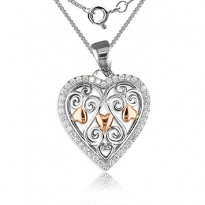 Filigree Heart Necklace, Sterling Silver, Rose Gold & Cubic Zirconia