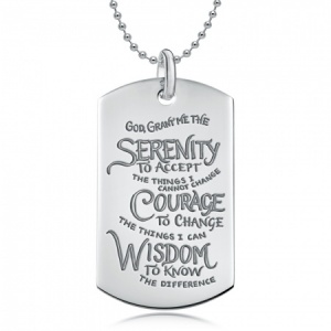 Serenity Prayer Sterling Silver Dog Tag Necklace (can be personalised)