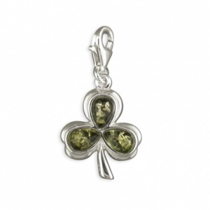 Shamrock Green Amber & Sterling Silver Charm
