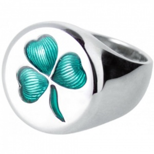 Irish Shamrock Signet Ring, Mens, 925 Sterling Silver