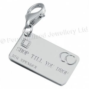Shop Till You Drop, Big Spender Credit Card Charm, 925 Sterling Silver