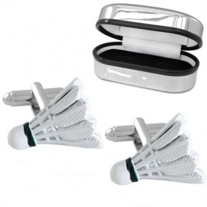 Shuttlecock Cufflinks with Chrome Box, Badminton (can be personalised)