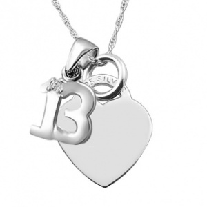 13th Birthday Sterling Silver Heart with Single Cubic Zirconia 13 Necklace (can be personalised)