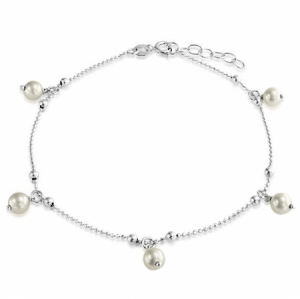 Simulated Pearls Sterling Silver Anklet