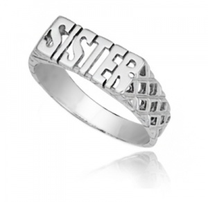 Sister Ring, Sterling Silver, Personalised