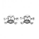 Skull & Crossbones Sterling Silver Stud Earrings