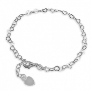Open Hearts Sterling Silver Chain Anklet (can be personalised)