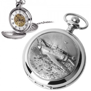 Spitfire Pewter Mechanical Skeleton Pocket Watch (can be personalised)