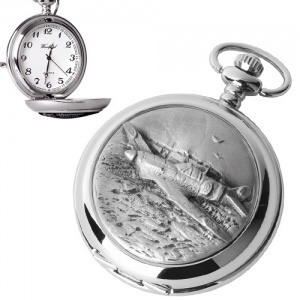 Spitfire Pewter Quartz Pocket Watch (can be personalised)
