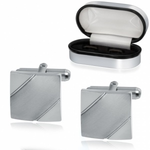 Square Brushed Stripe Cufflinks, Personalised, Stainless Steel