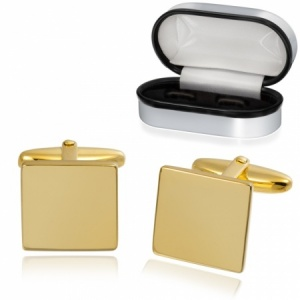 Plain Square Cufflinks Gold Plated 925 Sterling Silver, Personalised