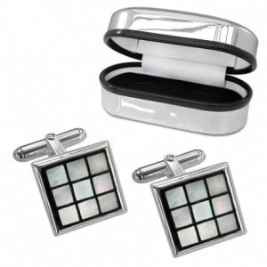Mother of Pearl & Sterling Silver Square Cufflinks (can be personalised)