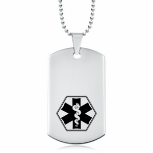 Medical Alert Dog Tag - Stainless Steel Personalised/Engraved