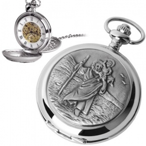 St Christopher Pewter Mechanical Skeleton Pocket Watch (can be personalised)