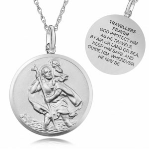St Christopher Travellers Prayer Sterling Silver Antique Finish Necklace