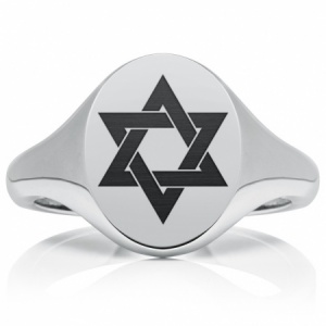 Star of David Signet Ring, Mens Personalised Heavyweight Sterling Silver