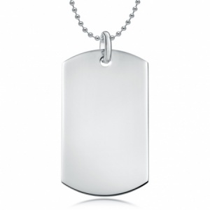 Sterling Silver Single Plain Dog Tag Necklace (can be personalised)