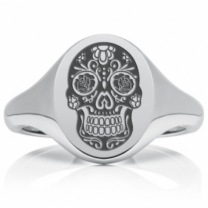 Sugar Skull, Day of the Dead Signet Ring, Mens Personalised Heavyweight Sterling Silver