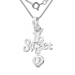 Sweet 16 Birthday Necklace, Cubic Zirconia Heart & Sterling Silver