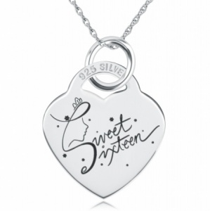 Sweet 16 Princess Crown Sterling Silver Heart Necklace (can be personalised)