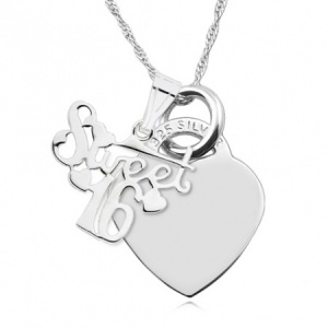 16th Sweet Heart Necklace, Personalised, Sterling Silver