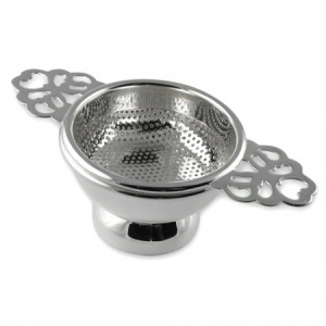 Double Handled Tea Strainer Sterling Silver Plated