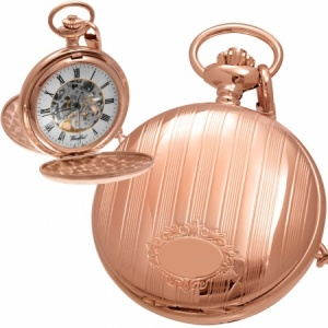 Tourbillon Rose Gold Pocket Watch, Full Hunter, Personalised, Woodford