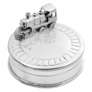 Train on Tracks First Tooth Box, Personalised, Silver Plated