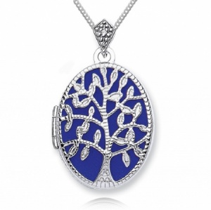 Tree of Life Locket, Personalised, 9ct White Gold