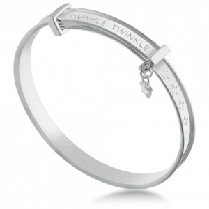 Twinkle Twinkle Little Star Babies Bangle, Personalised Sterling Silver
