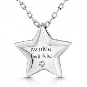 Girls Twinkle Twinkle Star Necklace, Cubic Zirconia & 925 Sterling Silver