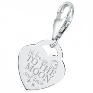 We Love You to the Moon & Back Charm, Personalised/Engraved, 925 Sterling Silver