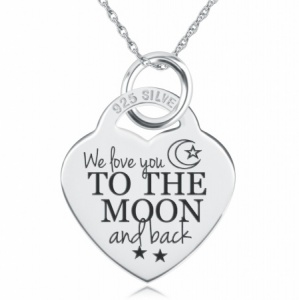 We Love You to the Moon & Back Necklace, Personalised, Sterling Silver