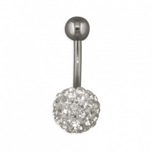 Golfball Cubic Zirconia and Sterling Silver Belly Bar