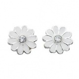 White Daisy Stud Earrings with Crystal, Sterling Silver