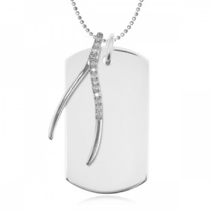 Wishbone Cubic Zirconia & Sterling Silver Dog Tag Necklace (can be personalised)
