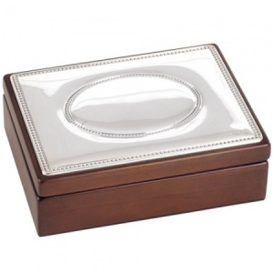 Jewellery/Trinket Box (Large), Wooden with Hallmarked Sterling Silver Lid (can be personalised)