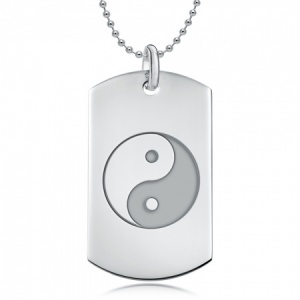 Yin Yang Sterling Silver Dog Tag Necklace (can be personalised)