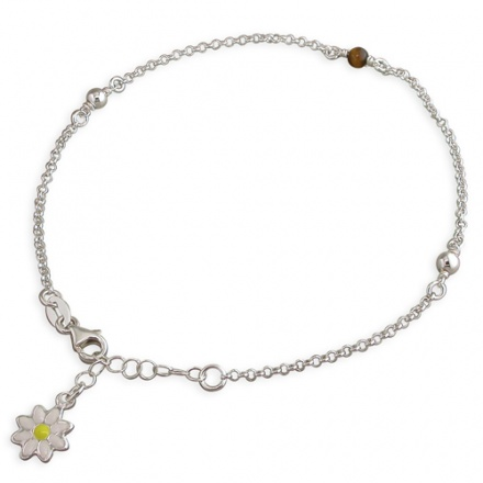 Daisy Drop, Beads & Tigers Eye Sterling Silver Anklet