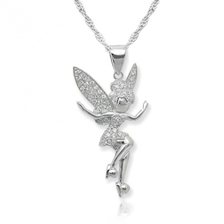 Tinkerbell Necklace, Cubic Zirconia and Sterling Silver