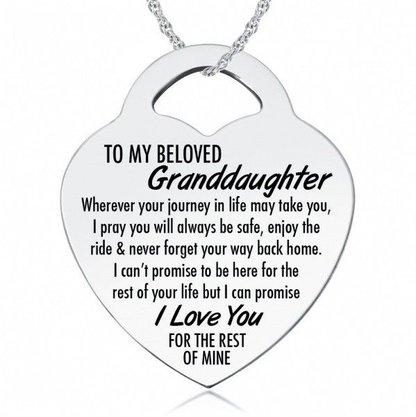 To My Beloved Granddaughter Necklace, Personalised, Sterling Silver
