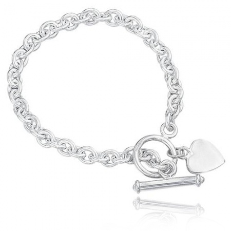 Toggle Bracelet with Drop Heart, Sterling Silver (can be personalised)