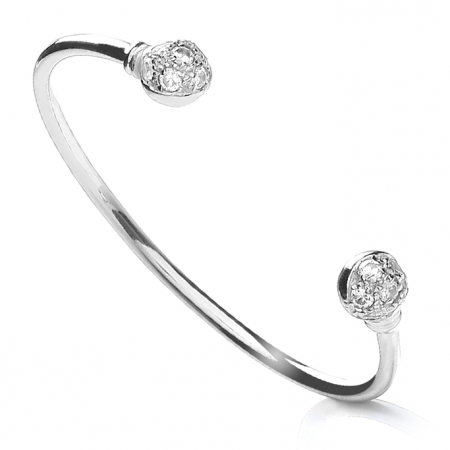 Cubic Zirconia Torque Baby Bangle, Sterling Silver, Golf Ball