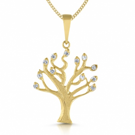 Tree of Life Necklace, Cubic Zirconia & 9ct Yellow Gold