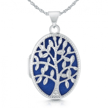 Tree of Life Locket Necklace, Personalised, Oval Shaped, 925 Sterling Silver